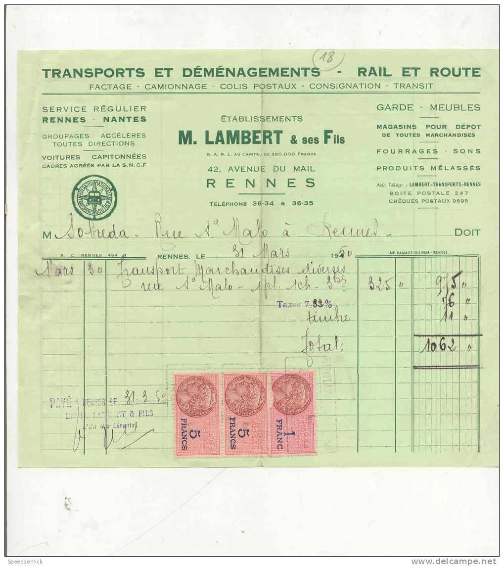 FF18- Transports Déménagements , Lambert 42 Av Du Mail , Rennes 1950 - Sports & Tourisme