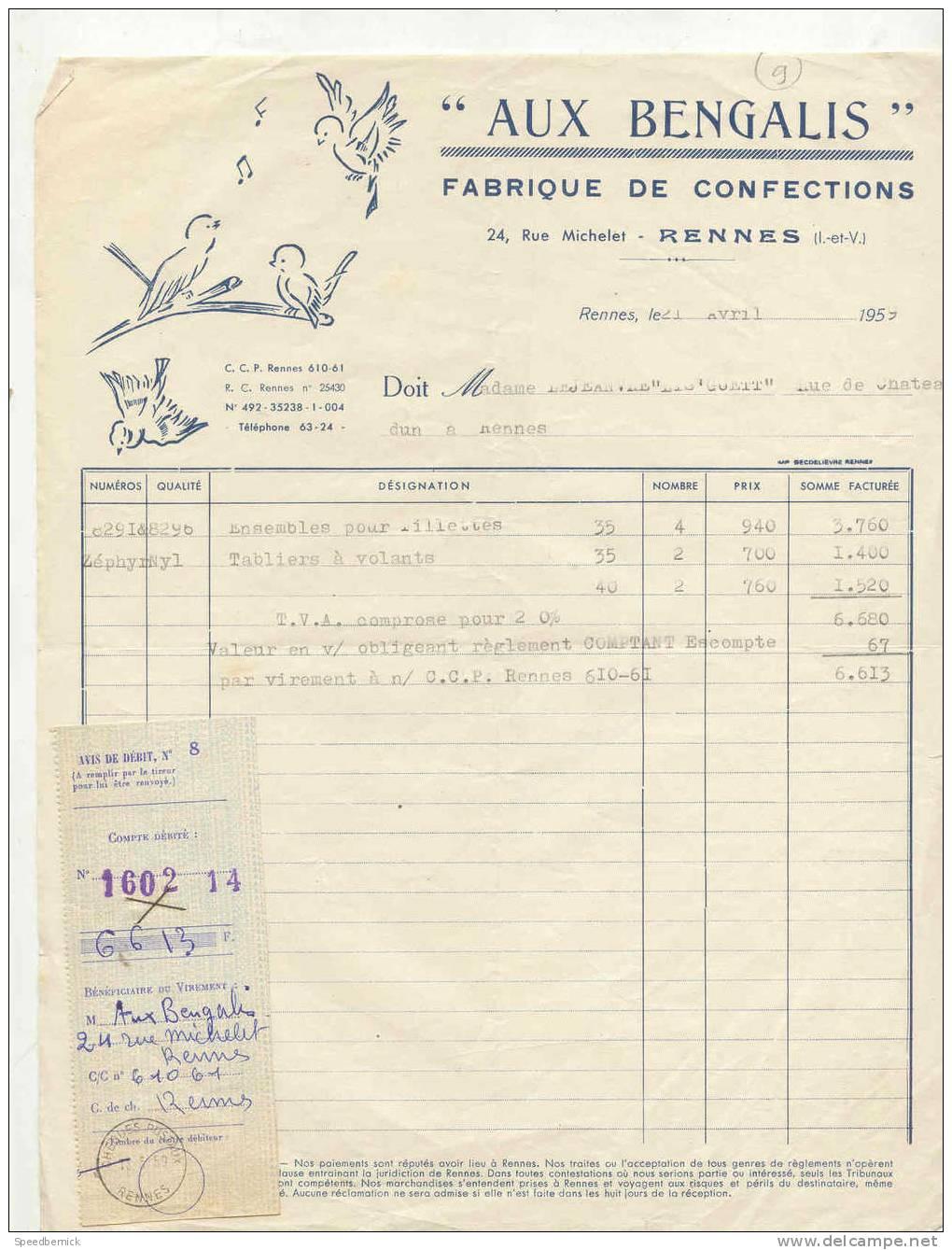 FF9- Aux Bengalis ; Fabrique Confections , 24 Rue Michelet Rennes . 1959 - France