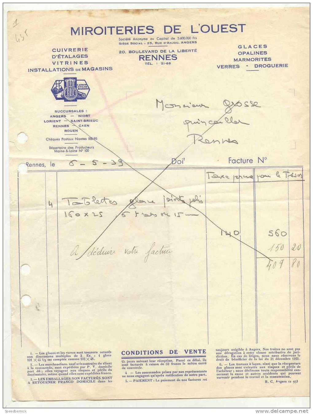 FF1- Miroiteries De L´ouest, Cuivrerie D´étalages, Vitrines, 20 Bd Liberté Rennes 35 . 1933 - Non Classés