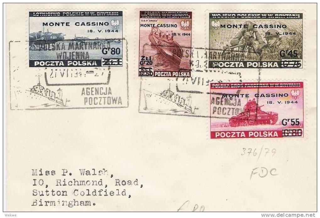 Pol158/- POLEN -  Monte Cassino 1944, FDC, N. Birmingham - FDC