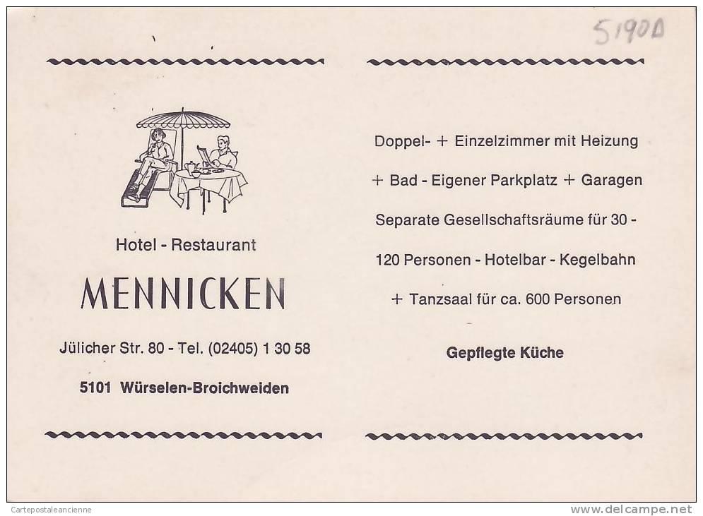 MENNICKEN HOTEL RESTAURANT WURSELEM BROICHWEIDEN - GERMANY DEUTSCHLAND DUITSLAND GERMANIA ALEMANHA -5190A - Wuerselen