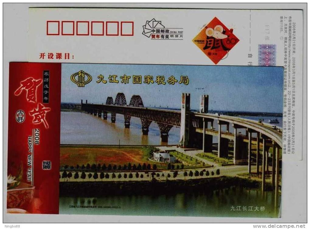 Jiujiang Double-deck Railway Road Combined Bridge,China 08 Jijiang National Taxation Bureau Advertising Pre-stamped Card - Bridges