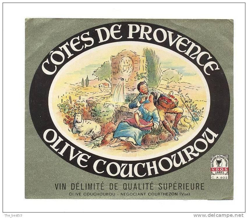 Etiquette De Vin De Côtes De Provence  -  Thème Couple, Fontaine, Amoureux - O. Couchourou à Courthezon (84) - Couples
