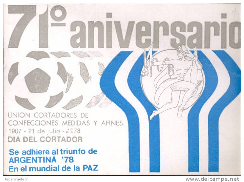 DIA DEL CORTADOR MENU 1978 - 71 ANIVERSARIO UNION CORTADORES DE CONFECCIONES MEDIAS Y AFINES WORLD CUP FIFA 1978 - Menú