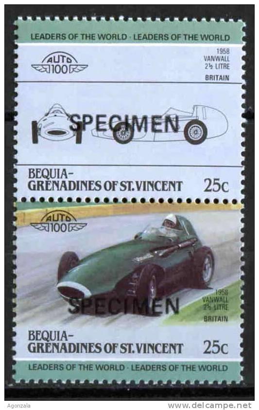 PAIRE TIMBRES  NOUVEAUX SPECIMEN SPORT VOITURE DE CARRIÈRES VANWALL 2.5 LITRE BRITAIN 1958 - Automovilismo