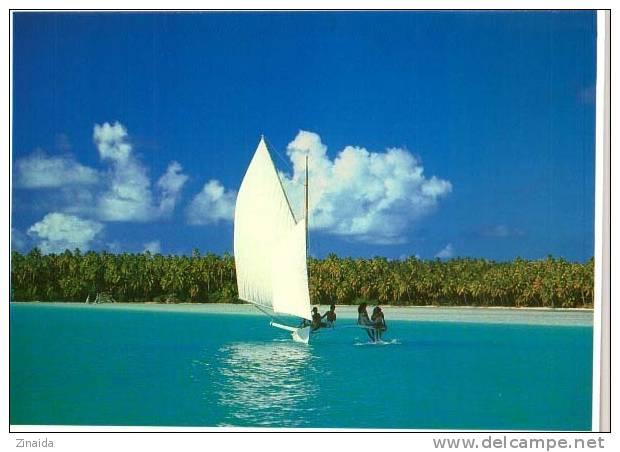CARTE POSTALE  DE TAHITI - BALLADE EN PIROGUE POLYNESIENNE A VOILES - Tahiti