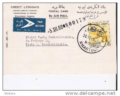 Sud026 / SUDAN -   Rom. Sehr Seltene Einzelfrankatur. Zur Olympiade, Nach Prag, CSR - Sudan (1954-...)