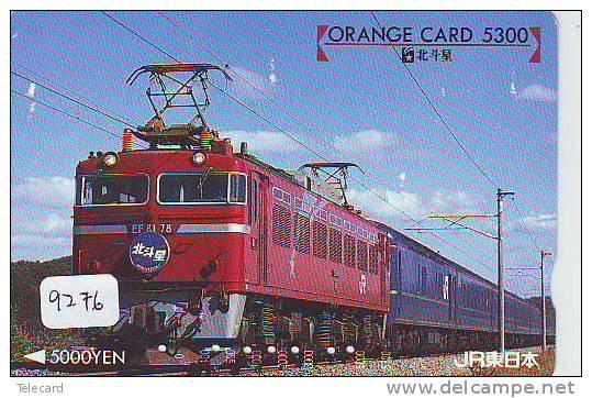 Telefonkarte  Japonaise Japan Train (9276) DAMPF Eisenbahn Trein Locomotive Zug Japon Japan Karte - Telephones