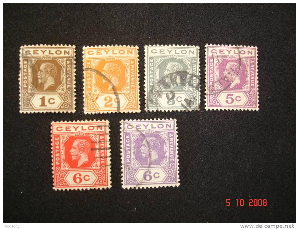 Ceylon 1912 K. George V  6 Values 1c, 2c, 3c, 5c, 6c, 6c. Used Very Good - Ceylon (...-1947)
