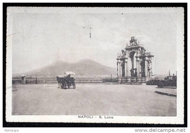 1929 NAPOLI SANTA LUCIA CON CARROZZELLA V DA NAPOLI A ZARA (DALMAZIA) - Napoli