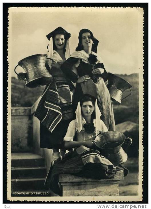 COSTUMI D'ABRUZZO  SPEDITA DA   ROSETO -    VIAGGIATA COME DA FOTO ITALY ITALIE FRANCOBOLLO RIMOSSO - Costumi