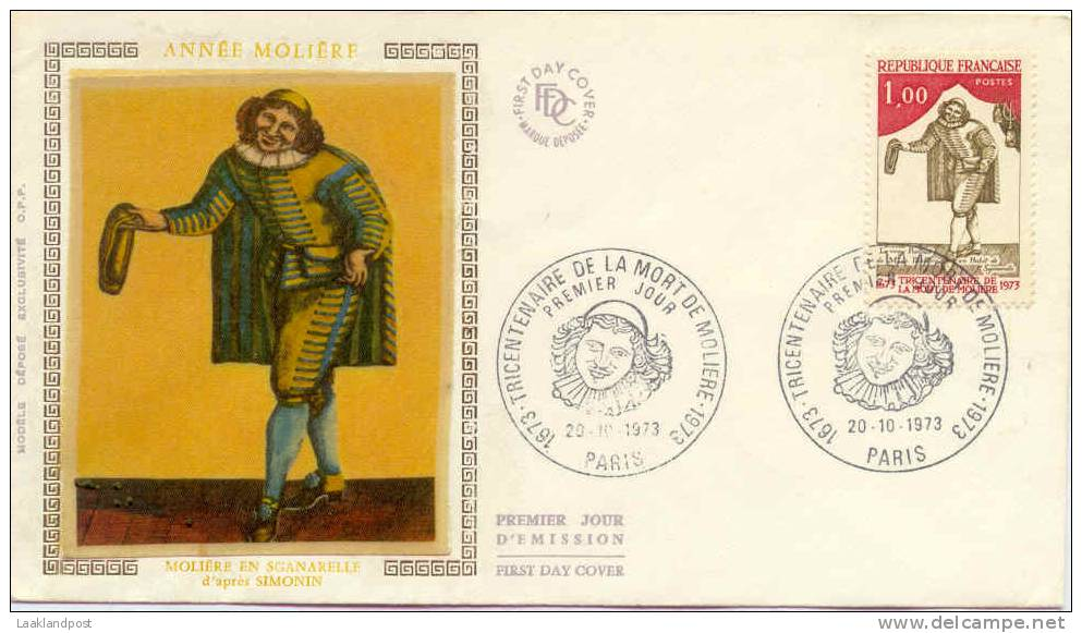 France FDC Moliere 20-10-1973 - Schrijvers