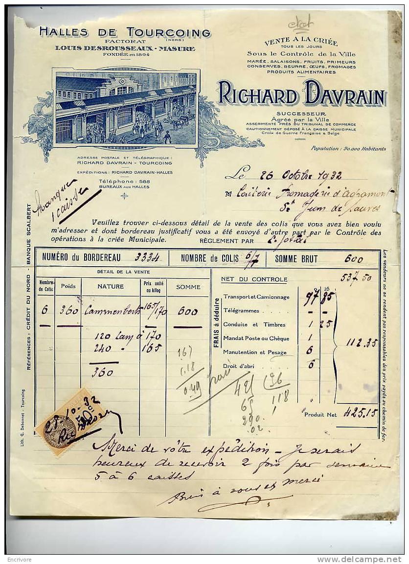 Halles De TOURCOING Vente à La Criée RICHARD DAVRAIN Factorat Desrousseaux Masure - Marée Salaison Laitier Primeur -1932 - France