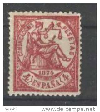 ES151-L2696.Spain ALEGORIA  DE LA JUSTICIA.1874 (Ed 151F**) Sin Charnela LUJO FALSO POSTAL  CERTIFICADO. CEM - Nuevos