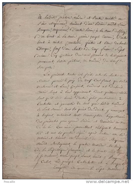 NORD BERLAIMONT - VENTE D´UNE PATURE A BERLAYMONT LE VINGT MESSIDOR AN TREIZE - BRUYERE / MALARME - Manuscrits