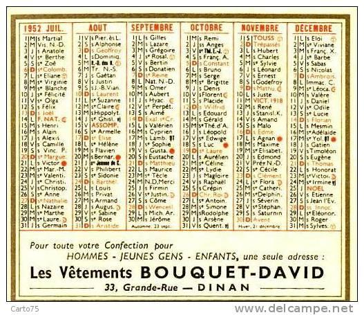 Calendrier 1952 - Dinan 22 - Vêtements BOUQUET-DAVID - 33 Grande Rue - Calendriers