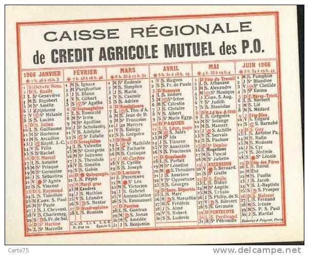 Calendrier 1966 - Banque Crédit Agricole Pyrénées Orientales - Format 10 X 8 Cm - Petit Format : 1961-70