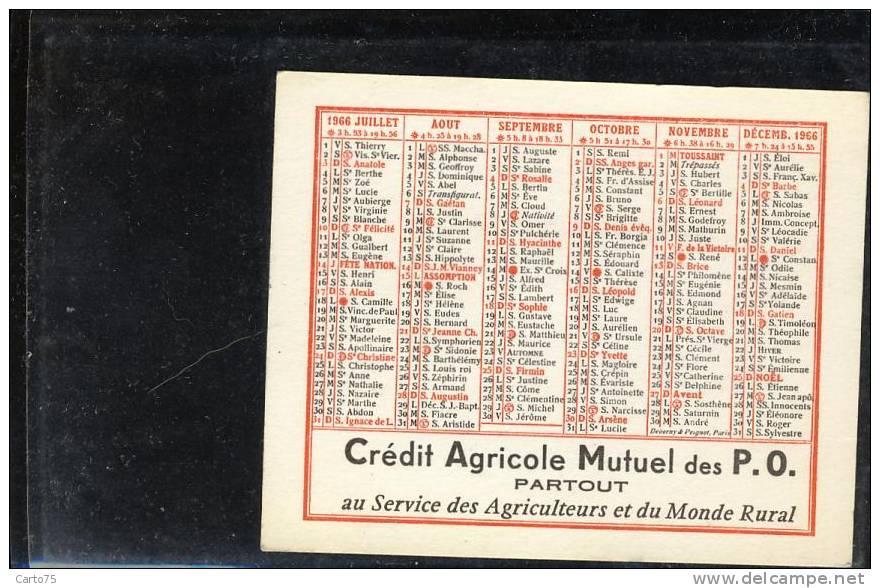 Calendrier 1966 - Banque Crédit Agricole Pyrénées Orientales - Format 10 X 8 Cm - Calendriers