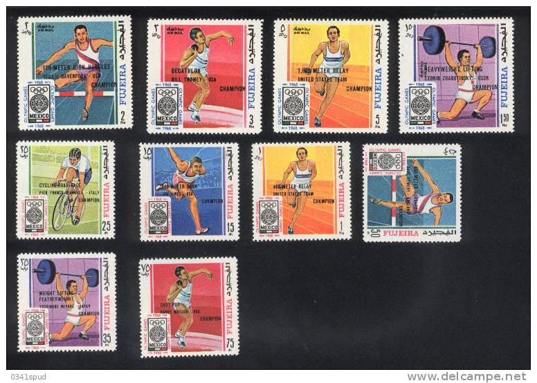 Jeux  Olympiques 1968 Mexico Fujeira  ** Never Hinged  Cyclisme Athlétisme Halterophilie - Sommer 1968: Mexico