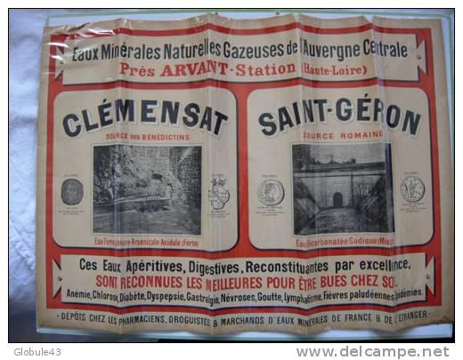 Eaux Minérales D´Auvergne Saint Géron Et Clémensat (arsenic) Haute Loire FRANCE - Plakate