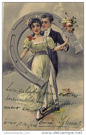 NEW YEAR 1906 Ca1900 VINTAGE CPA POSTCARD CARTOLINE Couple Of A Girl And A Boy With Flowers - Año Nuevo