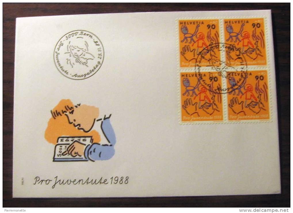 Suisse 1988, B549 Pro Juventute-Enseignement Et Éducation-Enveloppe-Bloc-FDC, O - Pro Juventute