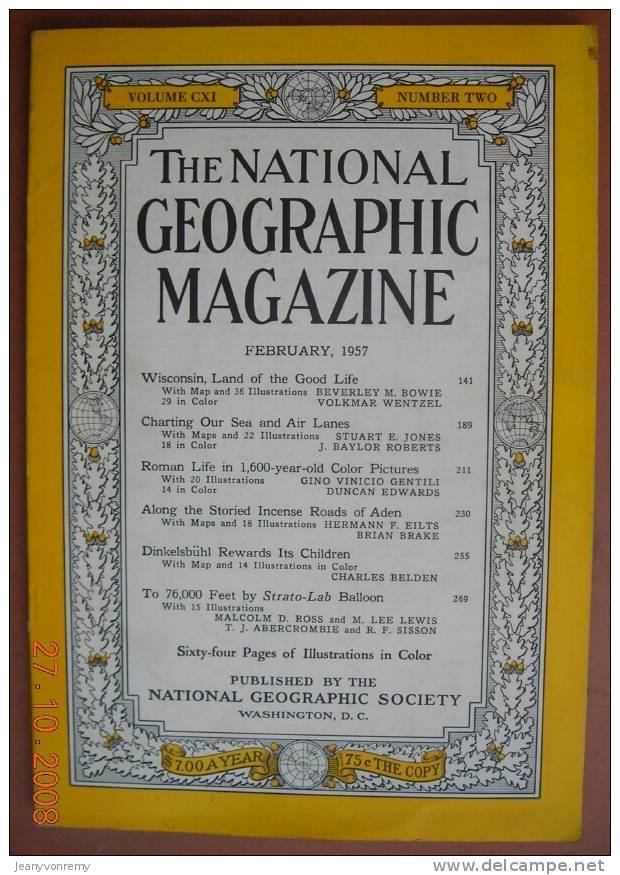 National Geographic - February 1957, Vol. 111, No. 2. Wisconsin, Land Of The Good Life - Géographie