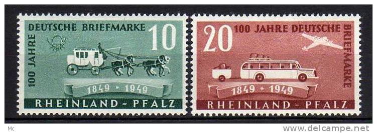 Rhéno-Palatin N° 48 / 49 Dentelé Luxe ** . - Französische Zone