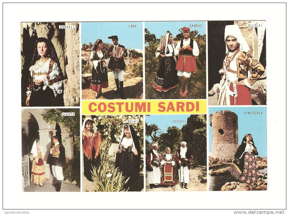 COSTUMI SARDI - 8 Immagini Di Costumi Tipici Della Sardegna - Nuova, Non Viaggiata - In Ottime Condizioni - DC2024. - Costumi