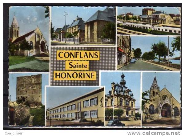 78 CONFLANS STE HONORINE Multivue, Eglise, Gare, Mairie, Rue, Ed Abeille 9508, CPSM 10x15, 1964 - Conflans Saint Honorine
