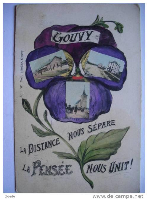 Gouvy  Pensée Multi Vues Voyage Gouvy 1909 Gare Station - Gouvy