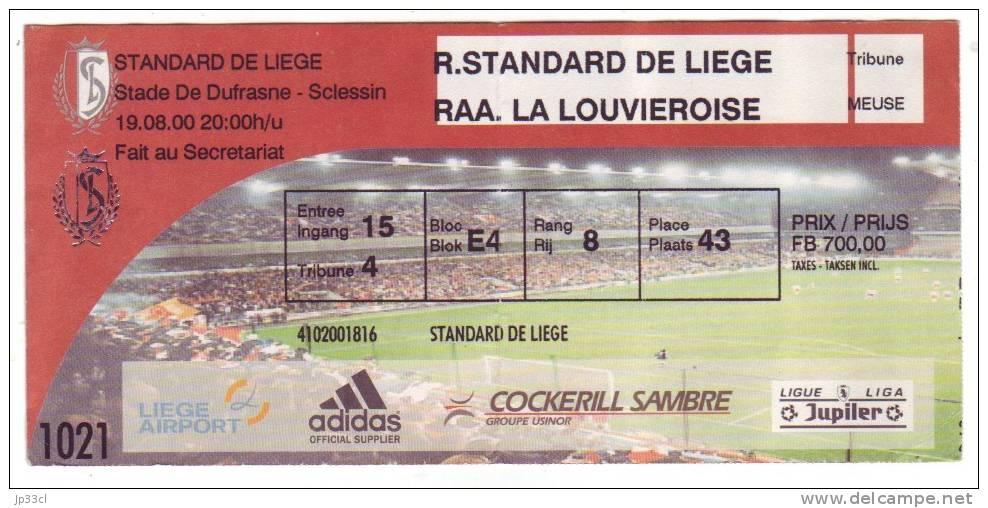 Ticket Standard De Liège - RAAL La Louvière, 19/8/2000 - Tickets D'entrée