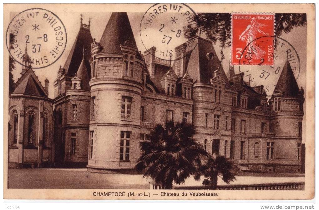 SEMEUSE 3c N°277A SEUL/CP OBL.Xe CONGRES INTERNATIONAL PHILOSOPHIQUE PARIS DU 2-8-1937 - RARE SEUL SUR LETTRE COTE 85€ - - 1921-1960: Modern Period