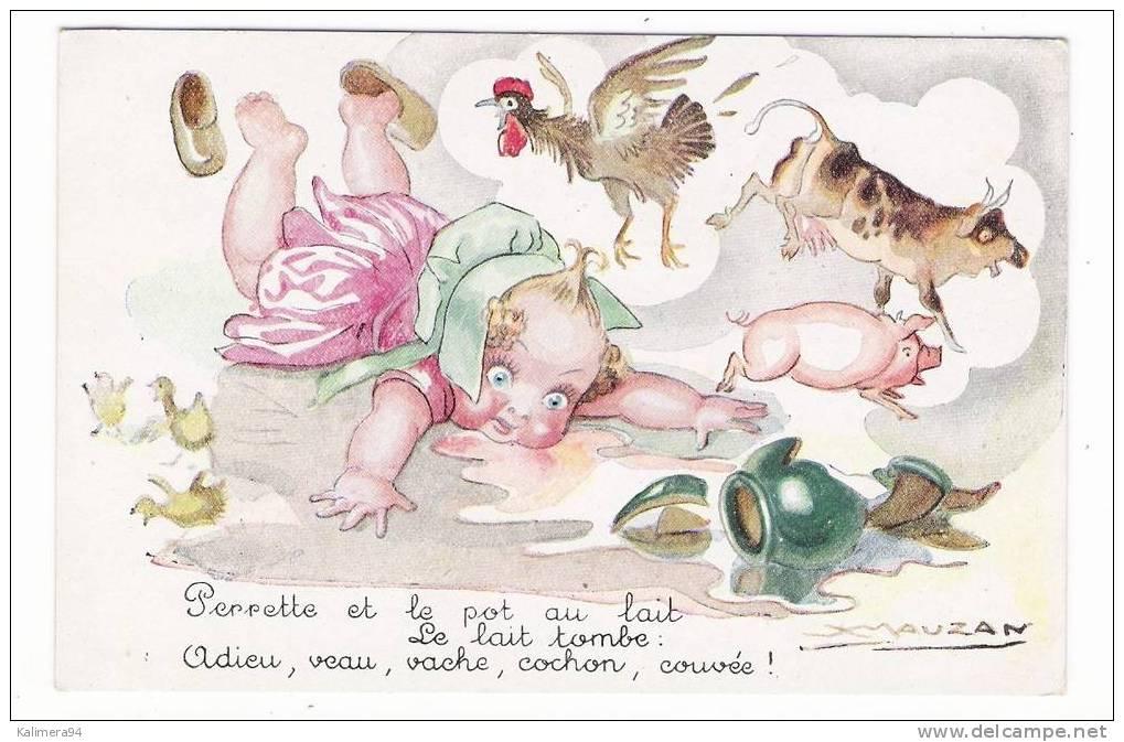 PERRETTE ET LE POT AU LAIT  ( Veau , Vache , Cochon Et Coq ) , FABLE DE LA FONTAINE , Illustrée Par MAUZAN - Pigs