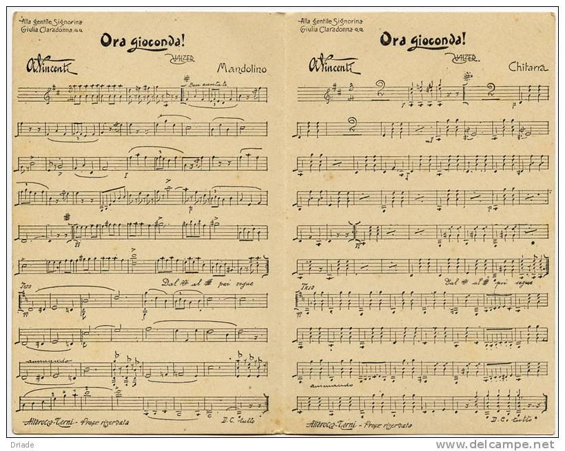 CARTOLINA DOPPIA CON ALL'INTERNO SPARTITO MUSICA ORA GIOCONDA A. VINCENTI VALZER - Musica