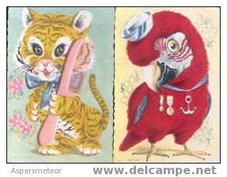 FIGURITAS CROMOS ESPAÑA SPAIN CIRCA 1940 7 DIFERENTES ANIMALES PAJAROS GATOS CEBRA CISNE SWAN CYGNE RARISIMAS RELIEVES A - Katten