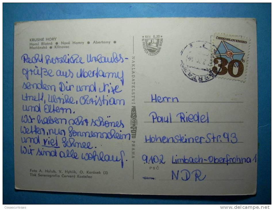 R.9001  CHECOESLOVAQUIA  CESKOSLOVENSKO  KRUSNÉ HORY  AÑOS 60/70  CIRCULADA  MAS EN MI TIENDA - Postales