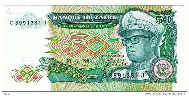 "50  Zaires   ""ZAÏRE ""   30 6 1988    UNC     B2 - Zaire"