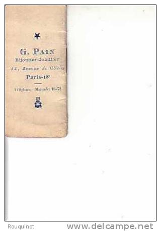 PETIT CALENDRIER 1921 - G. PAIN BIJOUTIER JOAILLIER - PARIS 18ème - Kalenders