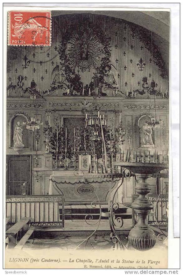 12992  Lignon Près Couterne La Chapelle L' Autel Et La Statue De La Vierge ; Roussel , Cliché D. Argentan - France