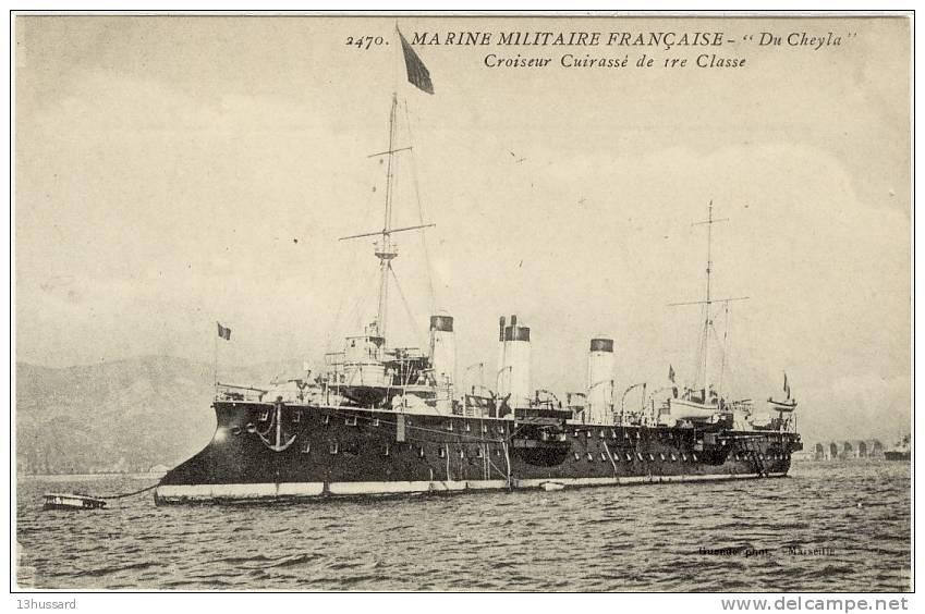 Carte Postale Ancienne  Marine Française - Croiseur Cuirassé 1ere Classe Du Cheyla - Navire De Guerre, Battleship - Krieg
