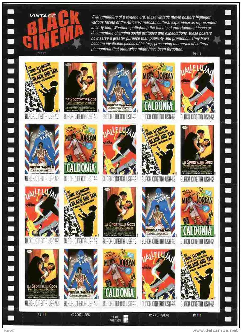 U.S. 4336-40   **  VINTAGE  BLACK CINEMA - Hojas Completas