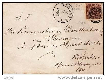 DK-C9019/ Ringsted 1853 Auf Michel 1 II A, Vollrandig - 1851-63 (Frederik VII)