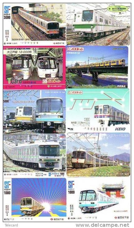 JAPAN 10 Gebruikte TREIN KAARTEN - TRAINS (246) BENUTZTE BAHNKARTEN - ZÜGE - Treinen
