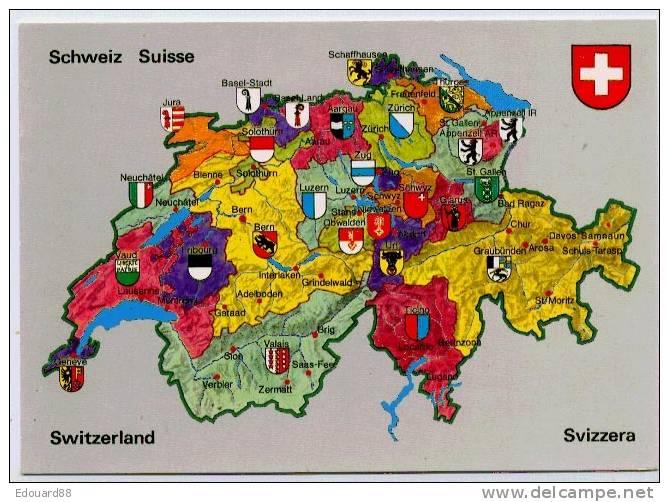 SUISSE  CANTONS - Cartes Géographiques