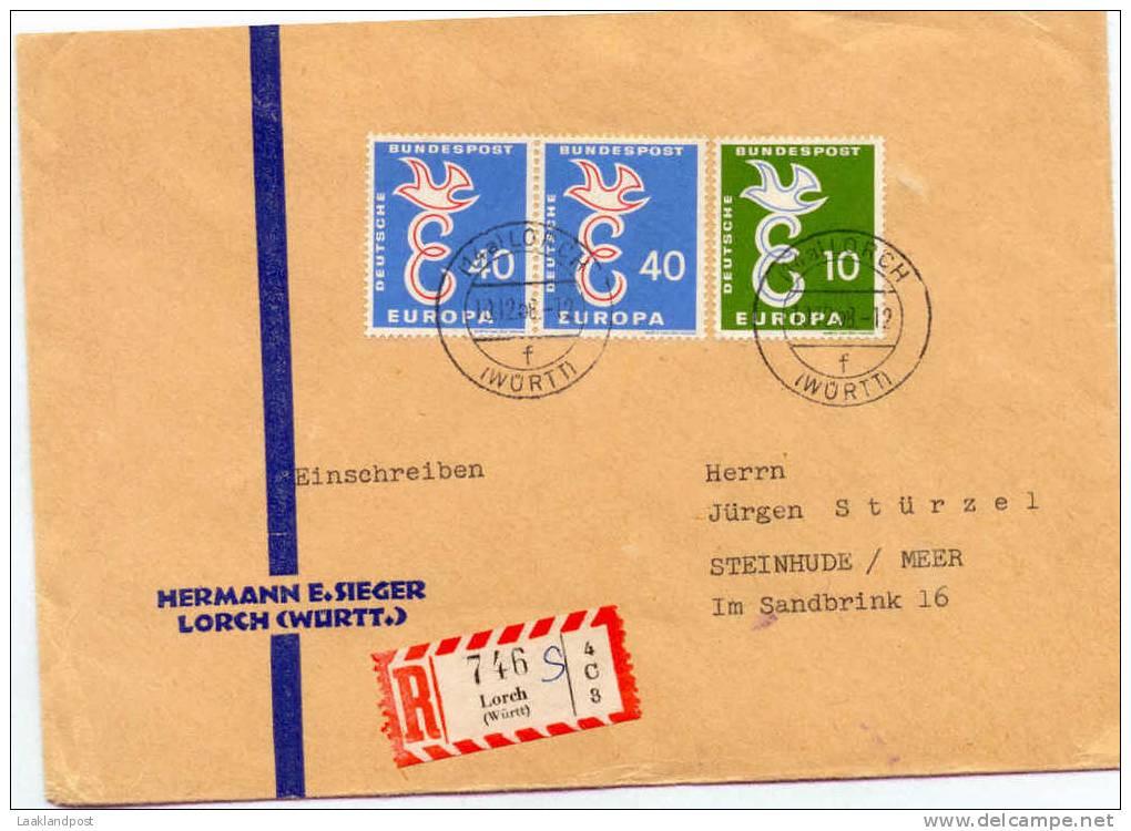 BRD Registerd Cover Lorch Hermann E. Sieger Michel 295/296 - [7] West-Duitsland