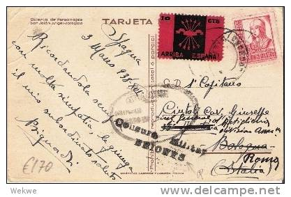 Ep226a/ - SPANIEN -  Interessante Tarjeta Patriotica. Briones Und Ital. Zensur  Ansichtskarte Mit  Franco - Ganzsachen