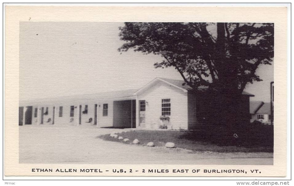 Chrome Postcard, Ethan Allen Motel U.S. 2 - 2 Miles East Of Burlington, Vermont (Ref.#655a) - Burlington
