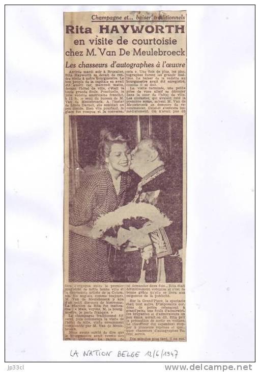 Rita Hayworth En Visite Chez Van De Meulebroeck à L´Hôtel De Ville De Bruxelles (12/6/1947) - Journaux - Quotidiens