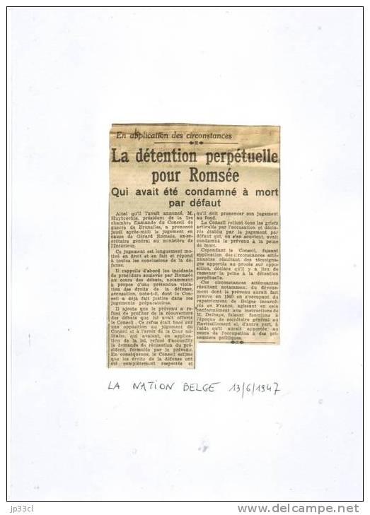 2 Articles Surle Procès De Gérard Romsée Devant Le Conseil De Guerre De Bruxelles (1/4/1947 Et 13/6/1947) - Journaux - Quotidiens